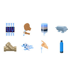 Water filtration system icons in set collection vector