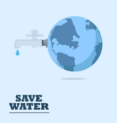 water world day with faucet or water tap with a vector image