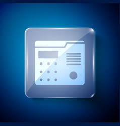 White house intercom system icon isolated on blue vector