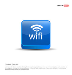 wifi icon logo - 3d blue button vector image