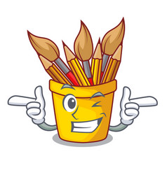 Wink character pot pencil above wood table vector