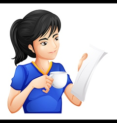 Woman reading paper vector