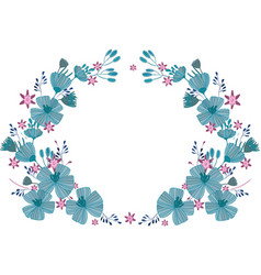 wreath of delicate blue flowers vector image