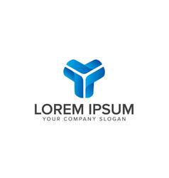 y letter blue 3d logo design concept template vector image