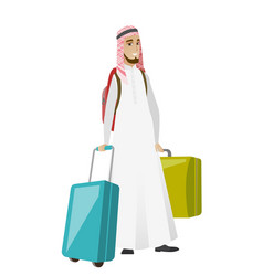 Young muslim man traveler with many suitcases vector