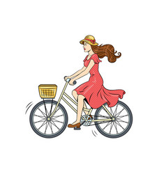 young woman ride on bicycle pop art vector image