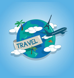 airplane travelling around the globe travel vector image vector image