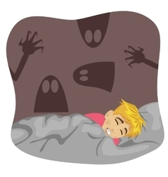 Boy having a scary dream vector image vector image