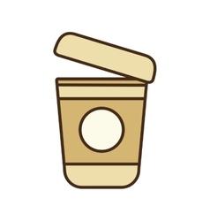 Cartoon plastic cup coffee portable vector