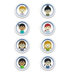 cute girl cartoon character label set vector image