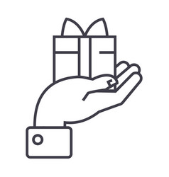 hand with gift line icon sign vector image vector image