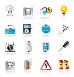 Power energy and electricity icons vector