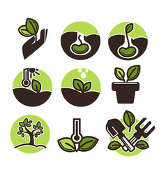 set of gardening labels vector image