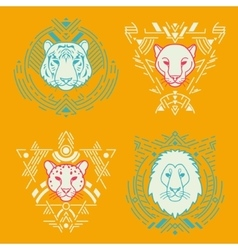Animal heads in frames vector image