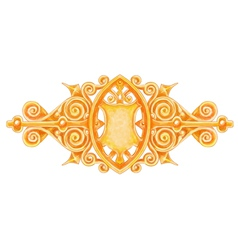 Ornated gold vintage decor with heraldic shield vector image