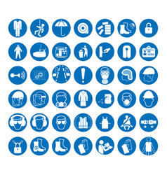 set of safety and health protection signs vector image