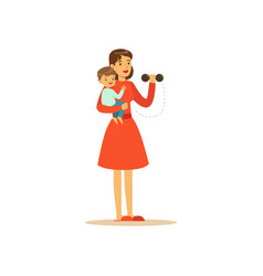 super mom character with child doing exercises vector image