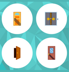 flat icon door set of door lobby entry and other vector image vector image