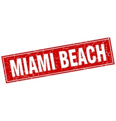 Miami beach red square grunge vintage isolated vector
