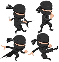 Ninja Cute Character Cartoon Set vector image
