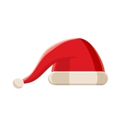 Red christmas Santa Claus hat icon cartoon style vector image