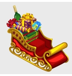 Red sleigh of Santa Claus with gifts and candies vector image vector image