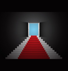 red white stair door open top dark room 3d vector image