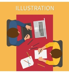 Workplace digital process Laptop and graphic vector image vector image
