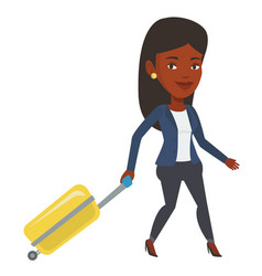 african woman walking with suitcase vector image vector image