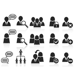 black social symbol people icons set vector image