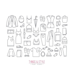 Flat clothes icons vector image vector image