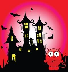 halloween with devil cartoon vector image