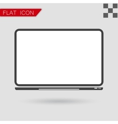 notebook Computer Icon Flat Style with red vector image