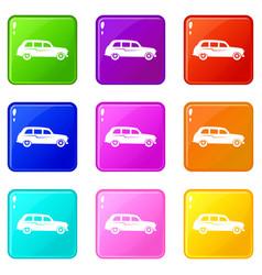 Retro car icons 9 set vector