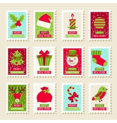 Set of postal stamps with Christmas and New Year vector image vector image