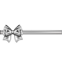 Silver ribbon with a bow vector image vector image