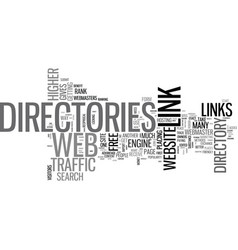 web directories used to get one way links text vector image vector image