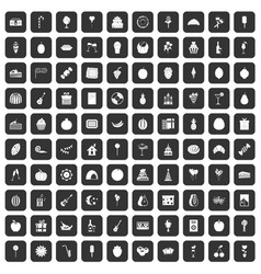 100 fruit party icons set black vector