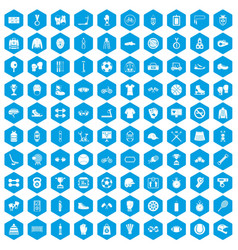 100 sport accessories icons set blue vector