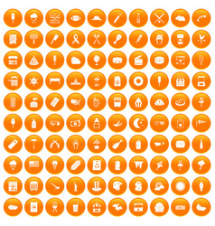 100 street food icons set orange vector
