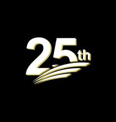 25 th anniversary elegant white celebration vector