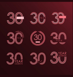 30 year anniversary set template design vector