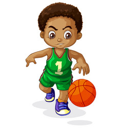 A male basketball player kid vector