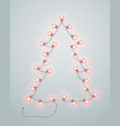 abstract christmas tree made from lighting garland vector image