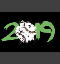 Abstract number 2019 and baseball ball from blots vector