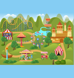 Amusement park concept landscape map with flat vector