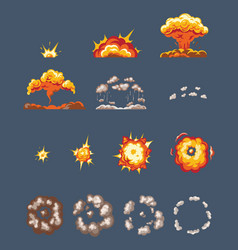 animation scenes effect smoke explosion fire vector image