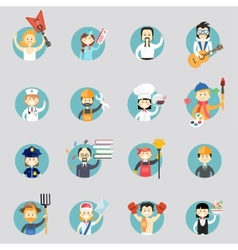 Badges with avatars of different professions vector image