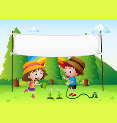 Banner template with kids watering plant vector