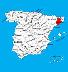 Barcelona map spain province administrative map vector